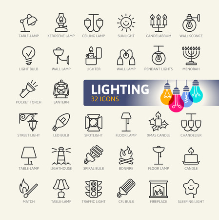 Lights web icon set - minimal thin line web icon set. Outline icons collection. Simple vector illustration