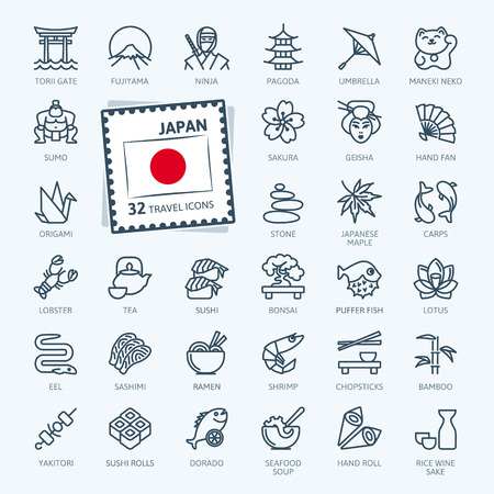 Japan, Japanese - minimal thin line web icon set. Outline icons collection. Travel series. Simple vector illustration. Vettoriali