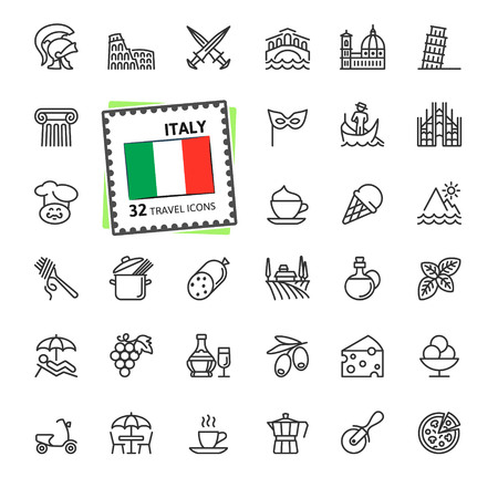 Italy, Italian - minimal thin line web icon set. Outline icons collection. Travel series. Simple vector illustration. Иллюстрация