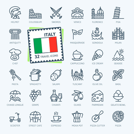 Italy, Italian - minimal thin line web icon set. Outline icons collection. Travel series. Simple vector illustration.