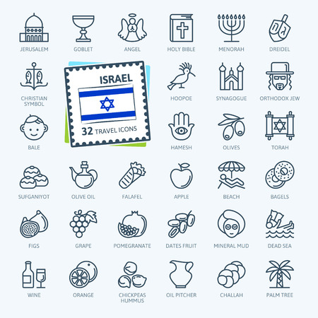 Israel - minimal thin line web icon set. Outline icons collection. Travel series. Simple vector illustration. Illustration