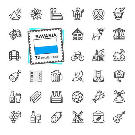 Bavaria, Bavarian, Bayern - minimal thin line web icon set. Outline icons collection. World Travel Tourism. Simple vector illustration.  イラスト・ベクター素材