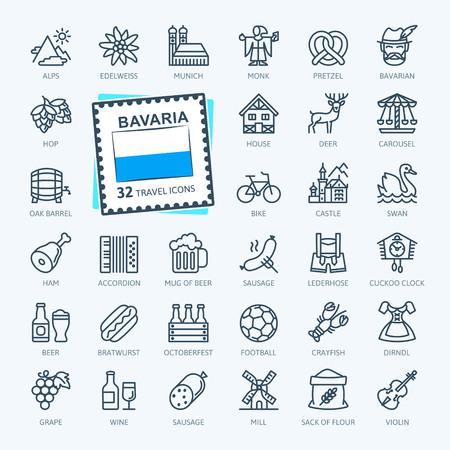 Bavaria, Bavarian, Bayern - minimal thin line web icon set. Outline icons collection. World Travel Tourism. Simple vector illustration. Illustration