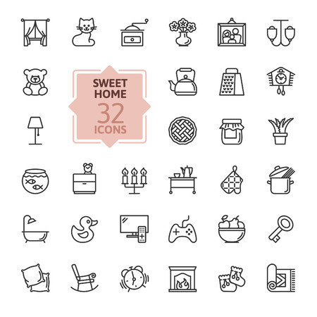 Home, sweet home - minimal thin line web icon set. Outline icons collection. Simple vector illustration.