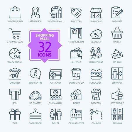 Centrum handlowe rynku - zestaw ikon web minimalne cienka linia. Zarys kolekcji ikon. Prosta ilustracja wektorowa.