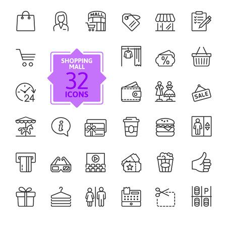 Centre commercial du marché - jeu d'icônes web mince ligne minimale. Collection d'icônes de contour. Illustration vectorielle simple.