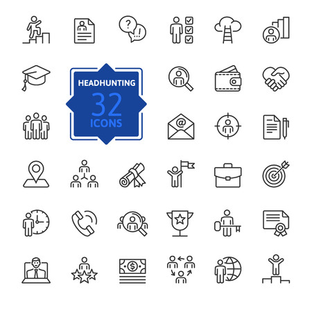 Headhunting And Recruiting minimal thin line web icon set. Included icons as Job Interview, Career Path, Resume and more. Outline icons collection. Simple vector illustration.