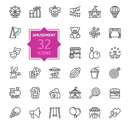 Parque de atracciones conjunto de iconos web de delgada línea mínima. Incluidos los íconos como Rollercoaster, Carousel, Ferros Wheel y más. Colección de iconos de contorno. Ilustración vectorial simple.