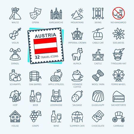 Austria, austriaca, tirolesa - conjunto de iconos web de línea delgada mínima. Colección de iconos de contorno. Turismo mundial. Ilustración vectorial simple. Ilustración de vector