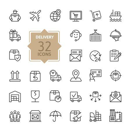 Consegna, spedizione, logistica - set di icone web minimale linea sottile. Collezione di icone di contorno. Illustrazione vettoriale semplice.