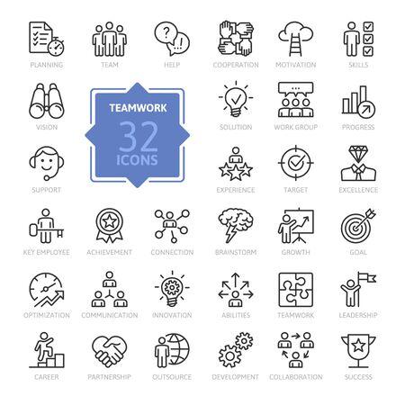 Trabajo en equipo empresarial, formación de equipos, grupo de trabajo y recursos humanos conjunto de iconos web de línea delgada mínima. Colección de iconos de contorno. Ilustración vectorial simple. Ilustración de vector