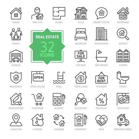 Conjunto de iconos de web de delgada línea mínima de bienes raíces. Incluye bienes raíces, propiedad, hipoteca, préstamo hipotecario y más. Colección de iconos de contorno. Ilustración vectorial simple. Ilustración de vector