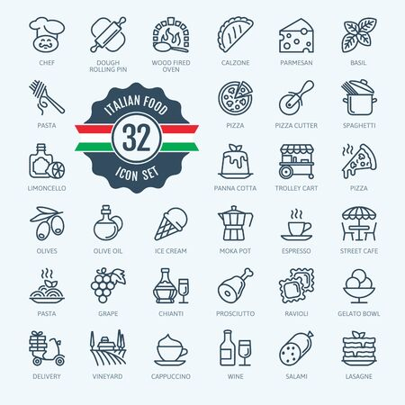 Italia, cibo italiano, cucina italiana - set di icone web minimale linea sottile. Collezione di icone di contorno per menu, ristorante, caffetteria, pizzeria. Illustrazione vettoriale semplice.