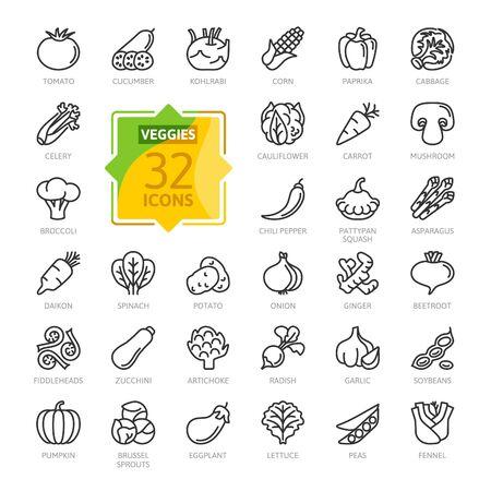 Végétarien, légumes, légumes - jeu d'icônes web en ligne mince minimal. Concombre, chou-rave, chou-fleur, courge pâtissière, crosses de fougère, daikon. Collection d'icônes de contour.