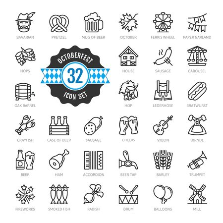 Oktoberfest, world's largest beer festival, Bavaria - thin line web icon set. Outline icons collection. World Travel Tourism. Simple vector illustration. Illustration