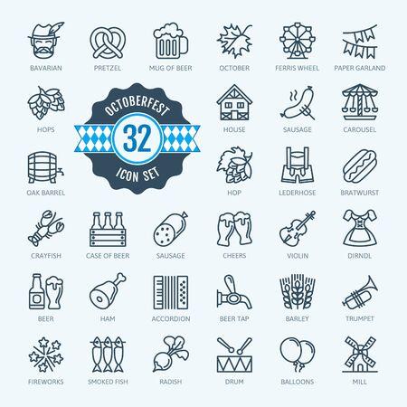 Oktoberfest, le plus grand festival de la bière au monde, Bavière - jeu d'icônes web fine ligne. Collection d'icônes de contour. Tourisme de voyage du monde. Illustration vectorielle simple.