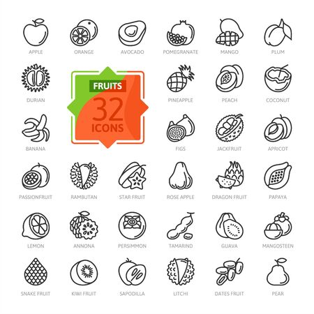 Fruits, exotic fruits, vegetarian - minimal thin line web icon set. Included are mango, durian, rambutan, guava, tamarind, jackfruit. Outline icons collection. Ilustração