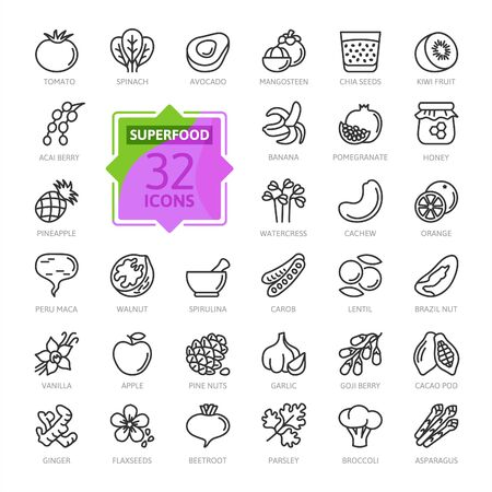Super food - thin line icon set of fruits and vegetables. Outline icons collection of healthy and healthy foods.