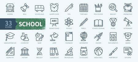Education and back to school - thin line icons set. Outline icons collection. Illustration