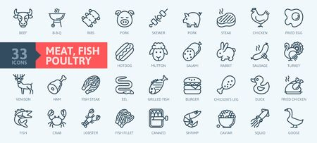 Meat, poultry, fish and eggs - minimal thin line web icon set. Outline icons collection. Simple vector illustration.