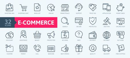 E-commerce, online shopping and delivery elements - minimal thin line web icon set. Outline icons collection. Simple vector illustration. Illustration