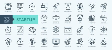 Startup project and development elements - minimal thin line web icon set. Outline icons collection. Simple vector illustration. Illustration