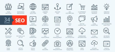 Outline web icons set - Search Engine Optimization. Thin line web icon collection. Simple vector illustration.
