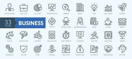 Business and finance web icon set - minimal thin line web icon set. Outline icons collection. Simple vector illustration. Illustration