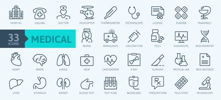 Medicine and Health symbols - minimal thin line web icon set. Outline icons collection. Simple vector illustration. Vectores