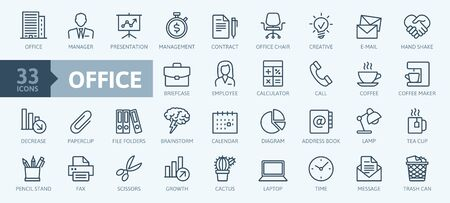 Office - thin line web icon set. Outline icons collection. Simple vector illustration. Illustration