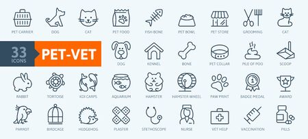 Pet, vet, pet shop, types of pets - minimal thin line web icon set. Outline icons collection. Simple vector illustration. Illustration