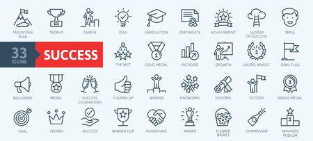 Sussess, awards, achievment elements - minimal thin line web icon set. Outline icons collection. Simple vector illustration.