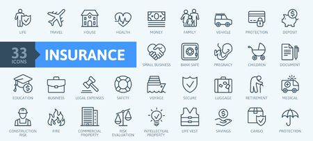 Insurance elements - minimal thin line web icon set. Outline icons collection. Simple vector illustration. Фото со стока - 130532810