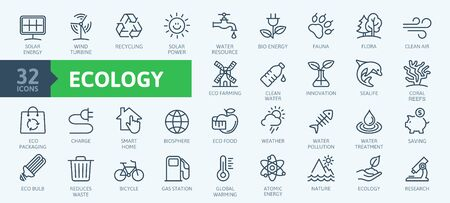 Ecology minimal thin line web icon set. Outline icons collection. Simple vector illustration Illustration