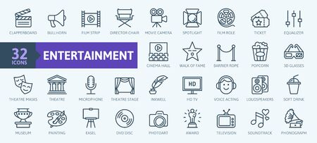 Entertainment - outline web icon collection, vector, thin line icons collection Çizim