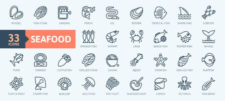 Fish and seafood elements - thin line web icon set. Outline icons collection. Simple vector illustration. Illustration