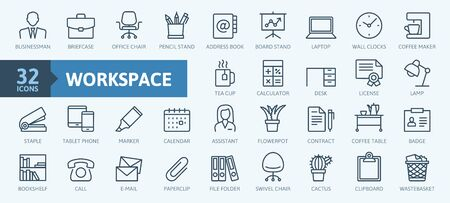 Office workspace elements - thin line web icon set. Outline icons collection. Simple vector illustration.