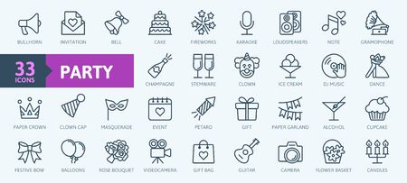 Party, celebration, anniversary elements - thin line web icon set. Outline icons collection. Simple vector illustration. Illustration