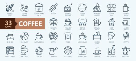 Coffee maker, coffee house, coffee shop elements. Outline icons collection. Simple vector illustration.