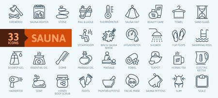 Sauna elements - thin line web icon set. Outline icons collection. Simple vector illustration. Ilustração