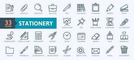 Office stationery - minimal thin line web icon set. Outline icons collection. Simple vector illustration.