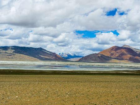 Tso Kar Lake with snow capped mountain background, Leh, Ladakh