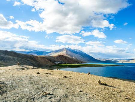 Tso Moriri Lake near Karzok Village with beautiful mountain