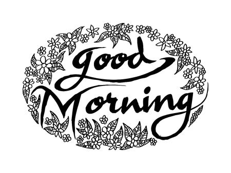 Good morning lettering on floral circle pattern Illustration