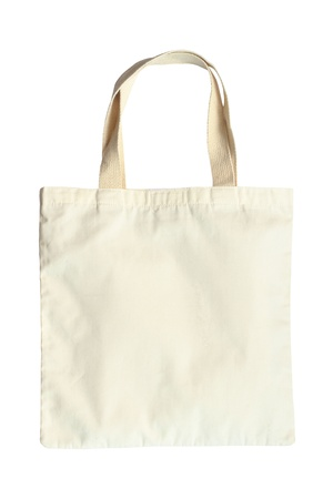 Fabric bag isolated on white background photo