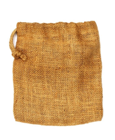 business cloth: Hemp cloth bag on white background