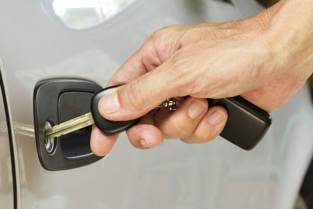 Key in hand is locking the door photo