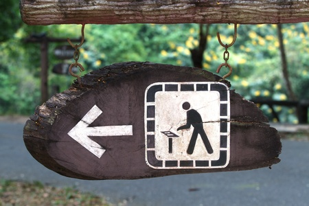 abstain: Wooden sign in the national park