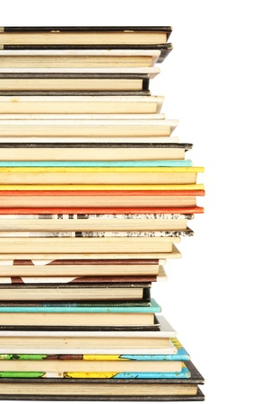 Stack of colorful old books background photo