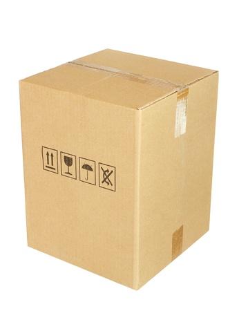 Kartonnen doos op witte achtergrond Stockfoto